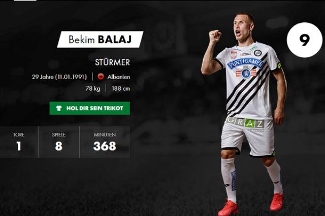 Bekim Balaj, tri pikë nga stoli për Sturm Graz