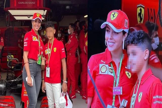 Lady Ronaldo në Montecarlo: vizitë në bokset e Ferrarit